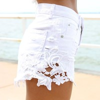 White Denim High-Waist Cut Off Shorts with Crochet Detail