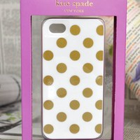 Hot Fashion iPhone 5 Resin Hard Case La Pavillion (White with Gold Dot)