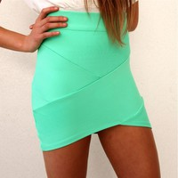 MINT PASTEL GREEN BANDAGE WRAP TUBE DISCO SKIRT 6 8 10 12