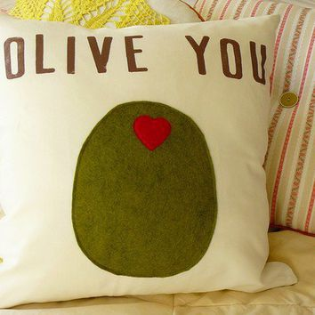 Olive You Pillow Cover by OIive on Etsy