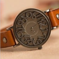 Unique Handmade Cow Leather Belt Watch with Round Dial 055 Yellow