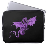 Purple Vintage Dragon Black Laptop Sleeve