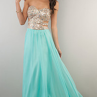 Strapless Prom Dress with Cut Out Sides by Morgan and Company