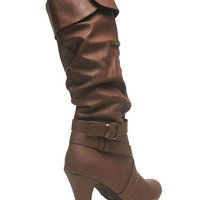Tall Slouch Buckled Boot | Wet Seal