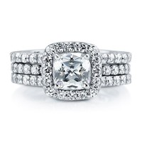 BERRICLE Cushion Cut CZ 925 Silver 2-Pc Insert Halo Bridal Engagement Wedding Ring Band Set 1 ct.tw