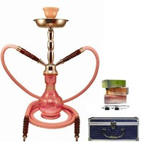 "19"" 2-Hose Pink Hookah Package w/ Briefcase Charcoal & Soex"