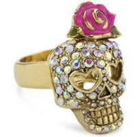 "Betsey Johnson ""Betsey the Vampire Slayer"" Rhinestone Skull Ring"