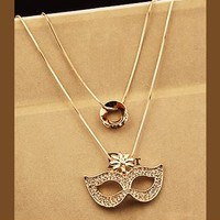 Mask Rhinestone Double Chain Necklace