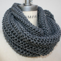Grey Knit Scarf Gray Infinity Scarf Knitted Scarves Popular Shops Items Winter Neckwarmer - By PiYOYO