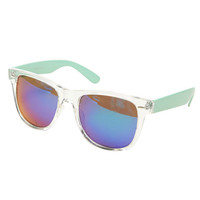Frame-Mix Mirrored Wayfarer Sunglasses | Wet Seal