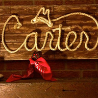 Western Wood Rope Name Sign Baby Country Rustic Distressed Nursery Decor Cowboy Room: 6 Letter