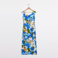 Hawaii Dress Hawaii Maxi Dress Luau Dress Blue Floral Dress Floral Print Dress Floral Maxi Dress 70s Dress 70s Hippie Dress XS Extra Small