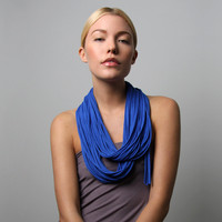 Circle Scarf Necklace - Infinity Loop Scarves - Blue Necklush | Luulla