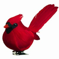 5in Clip-On Red Cardinal Bird Wedding Decor Christmas Ornament