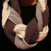 Multi Color Braided Infinity Crochet Scarf