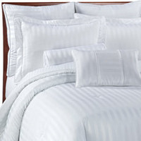 Damask Stripe White Mini Comforter Set, 100% Egyptian Cotton - Bed Bath & Beyond