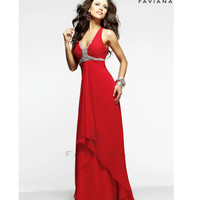 Faviana 2014 Prom Dresses - Red Beaded Chiffon Long Prom Dress