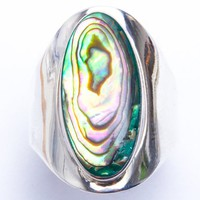 Simulated Abalone Shell .925 Sterling Silver Ring Sizes 6-9