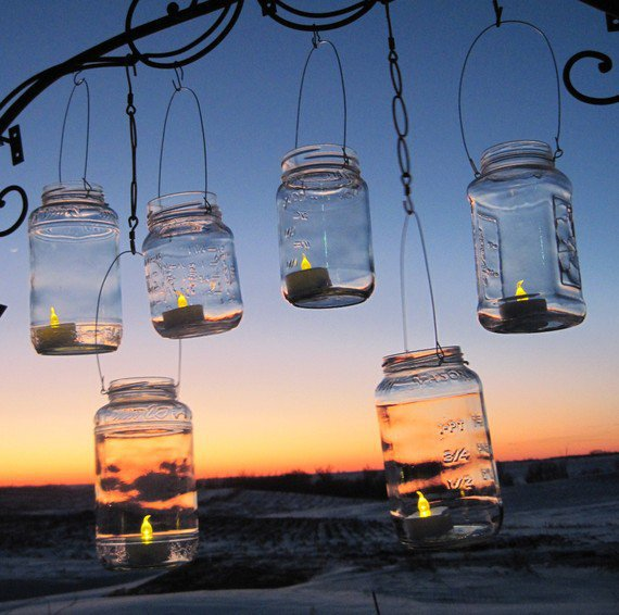 Mason Jar Lanterns 6 Clear Party Luminaries by treasureagain