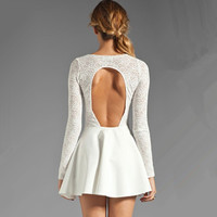 White Lace Slim Halter Long Sleeved Dress