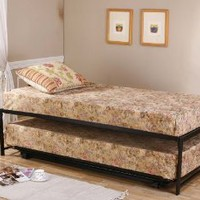 Twin Size Black Finish Metal Day Bed (Daybed) Frame & Pop Up Trundle