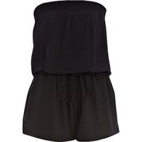 BLACK BANDEAU WAISTED PLAYSUIT