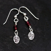 Garnet and Sterling Silver Drop Earrings