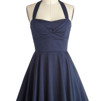 ModCloth Vintage Inspired Short Length Halter Fit & Flare Traveling Cupcake Truck Dress in Navy