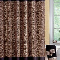 Collections Etc - Leopard Print Bathroom Shower Curtain