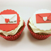 Valentine's Day Cupcake Fondant Love Letters Toppers, Wedding Toppers, Valentine Party, Valentine Gift, Red Edible Toppers- 12 pcs