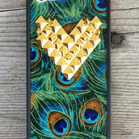 Peacock Gold Studded Heart iPhone 5/5s case