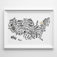 USA Map A3 print - United States Map