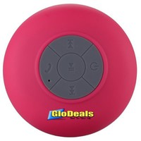 Glodeals Waterproof Wireless Bluetooth Shower Speaker & Handsfree speakerphone - - Compatible with all Bluetooth Devices, iPhone 5 Siri and All Android devices (Pink)