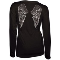 Country Girl® Ladies' Foil Angel Wings Relaxed Long Sleeve Tee - Tractor Supply Co.
