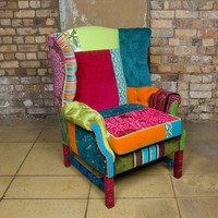 Mad Hatter Wing Back Chair by VelvetPerch on Etsy