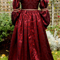 Italian Renaissance Red Full Sleeved Dress