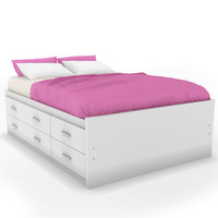 Captain's Storage Bed in Frost White w/ Flat Headboard & Nightstand