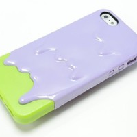 Purple Green 3D CUTE Melting Ice-Cream Pattern Back Cover Case for iPhone 5