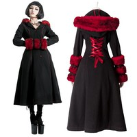 Designer Black and Red Long Goth Fashion Coats and Jackets Women SKU-11401213