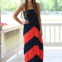 Navy and Orange Chevron Gameday Maxi Dress