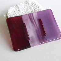Cranbery and Pink Glass Soap Dish