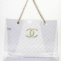 Chanel, Clear, Super, Jumbo, luxury, vintage, preowned, wgaca