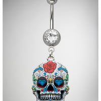 14 Gauge Sugar Skull Banana Belly Button Ring
