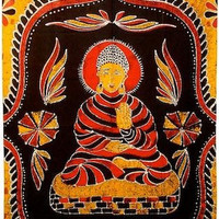 Buddha - Orange and Red - Curtain