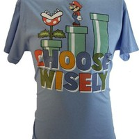 "Super Mario Brothers Mens T-Shirt - ""Choose Wisely"" Mario Exploring Pipes"