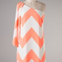 Womens Orange Chevron Print Off the Shoulder Dress