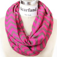 Scarfand's Light Weight Infinity Scarf with Solid Colors or Chevron Print