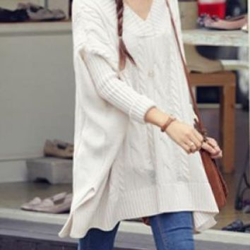 White Cable Knit Oversize Batwing Sweater