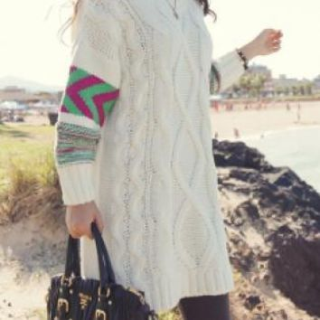 Cream Cable Knit Sweater with Printed Sleeves