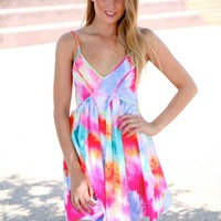 Pink Tie Dye Print Sleeveless Dress